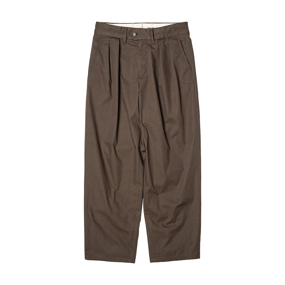ROUGH SIDE2Tuck Wide Pants (Chocolate)