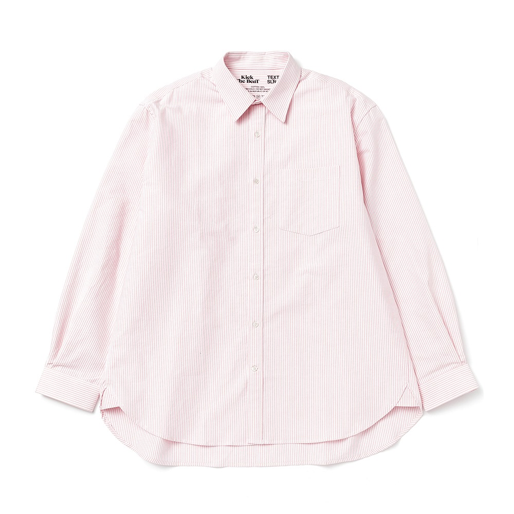 KICK THE BEAT X TEXT SLNCUnisex Relaxed Oxford Shirts(Pink Candy Stripe)