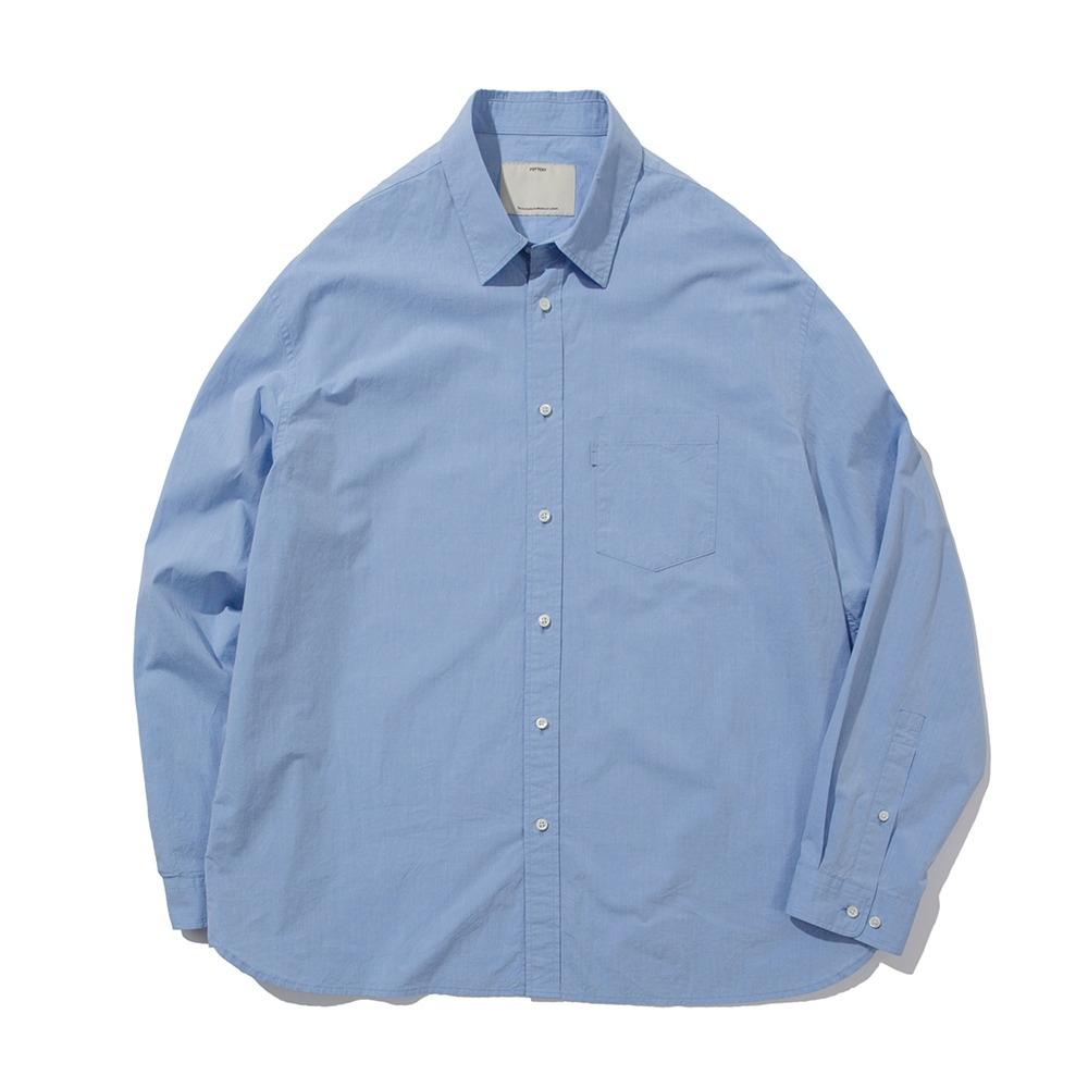 POTTERY*RESTOCK*Comfort ShirtGenetic Cotton 120/2 Chambray Typewriter Cloth Washer Finish(Sax)