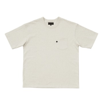 TEXT & SLNCSpade Embroidered Pocket T(Melange Oatmeal)