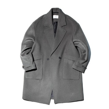 OUR SELVESSoft Wool Double Breasted Coat(Stone Sage)