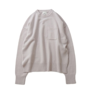 HORLISUNNorthyork Crewneck Slit Heavy Knit(Snow Gray)