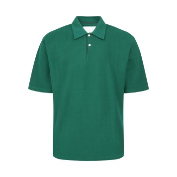 YOUNEEDGARMENTS x TEXT&SLNCFrench Terry Polo Shirt(Green)