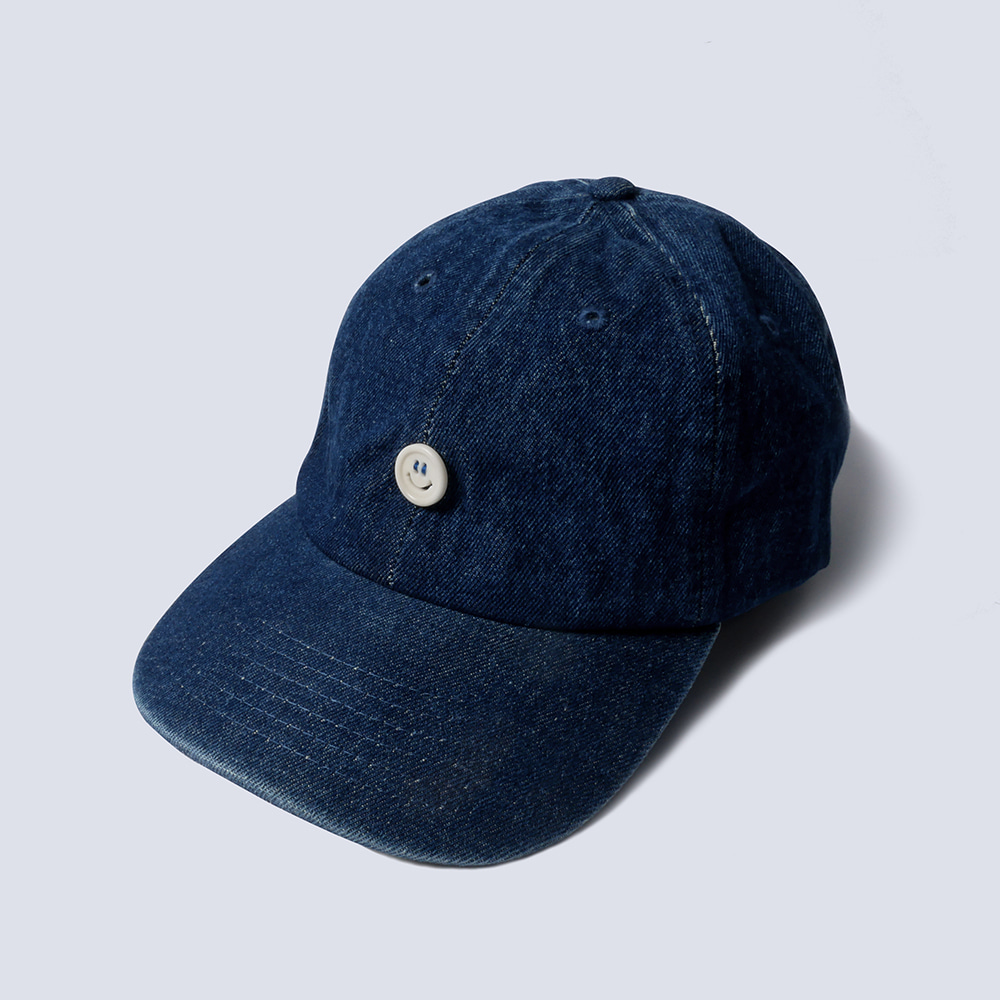 NAMER CLOTHING*RESTOCK*Smile Button Denim Cap(Dark Blue)