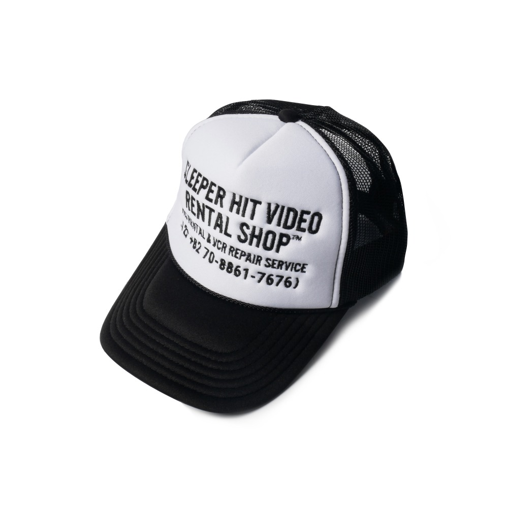 SLEEPER HIT VIDEOS.H.V. Staff Mesh Cap(White/Black)