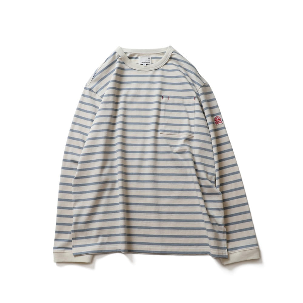 HORLISUNPowell Pocket Stripe Seasonal T-shirts(Blue Stripe)