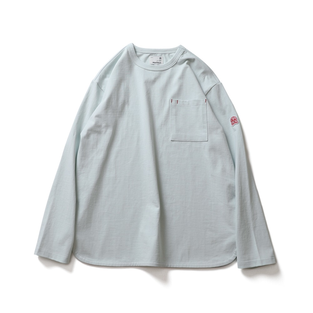 HORLISUNEmery Long Sleeve Pocket Seasonal T-shirts(Clear Sky)