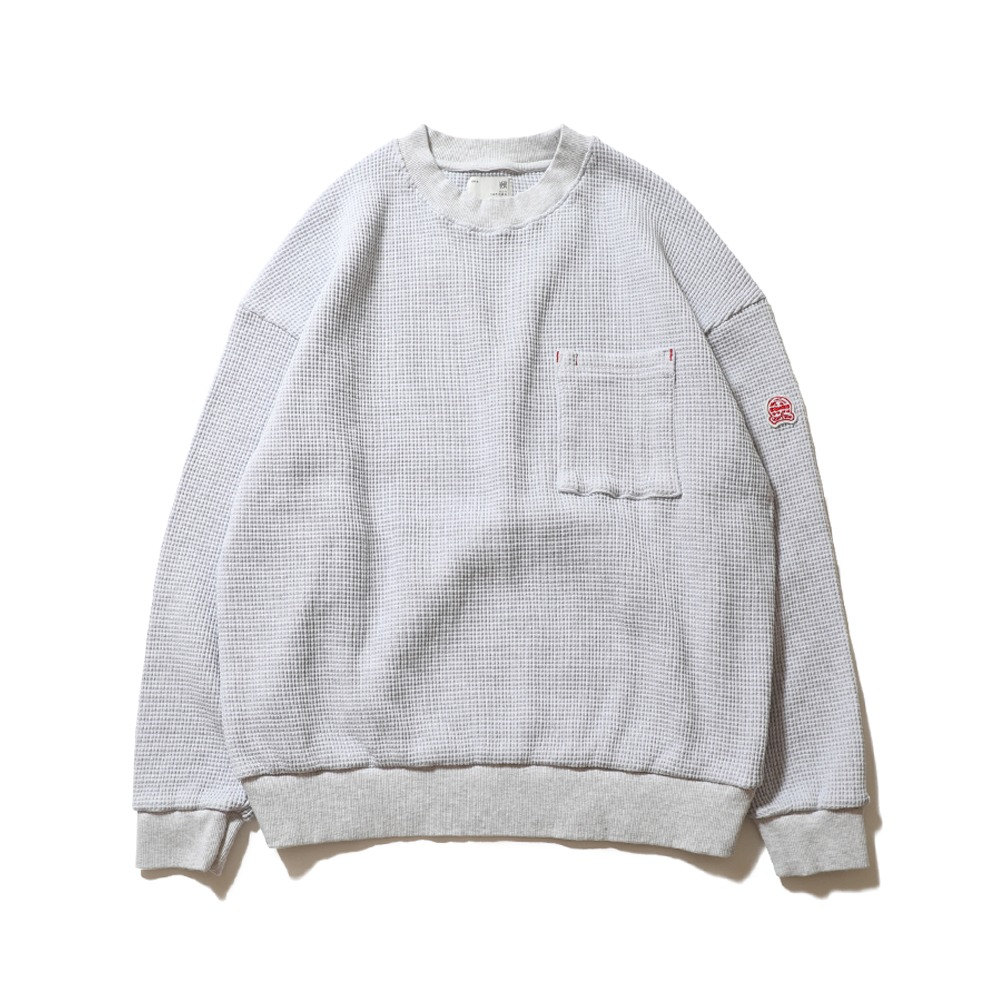 HORLISUNSugarpine Heavy Waffle Cotton Pullover(Light Melange Gray)