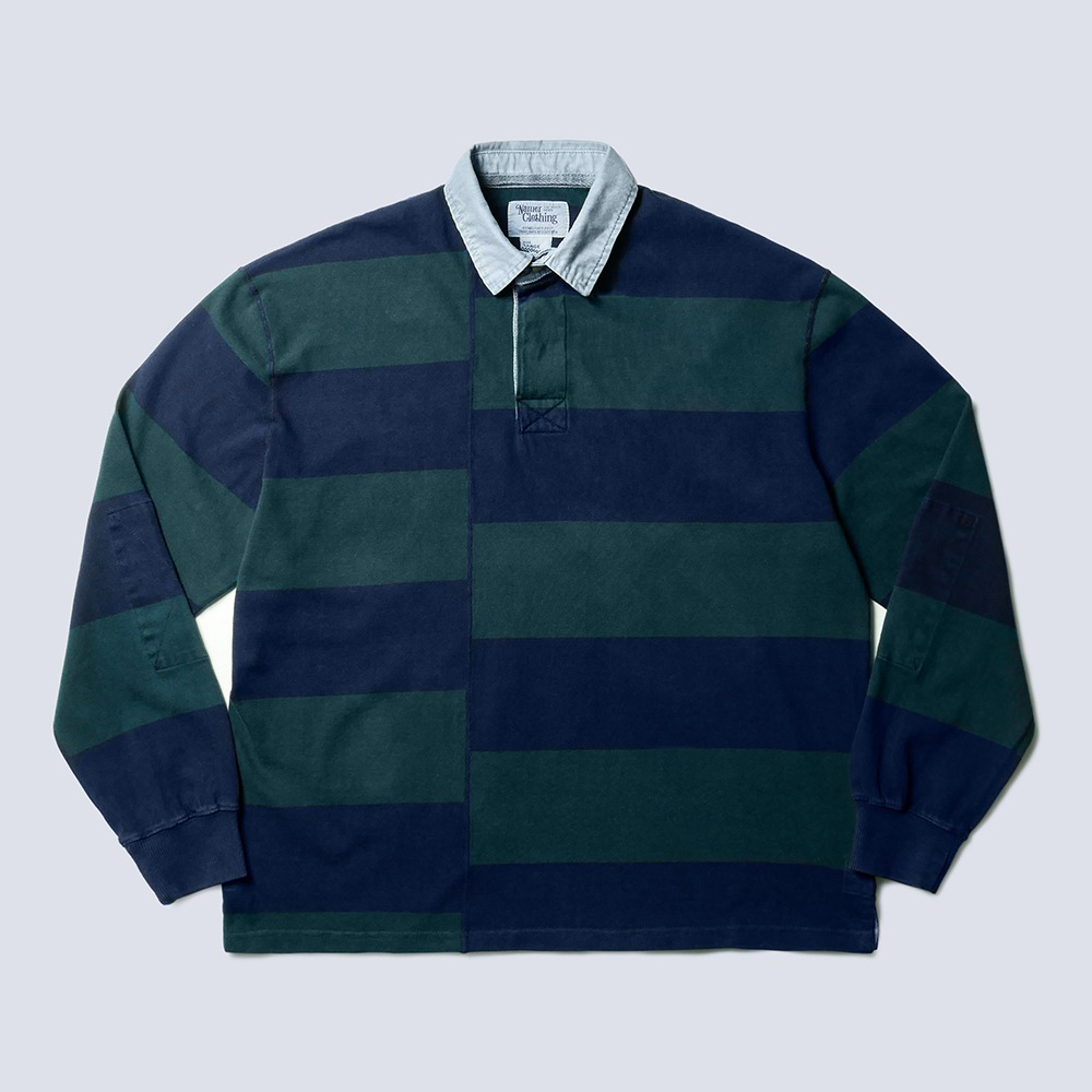 NAMER CLOTHINGDyed Stripe Rugby Shirts(Navy/Green)
