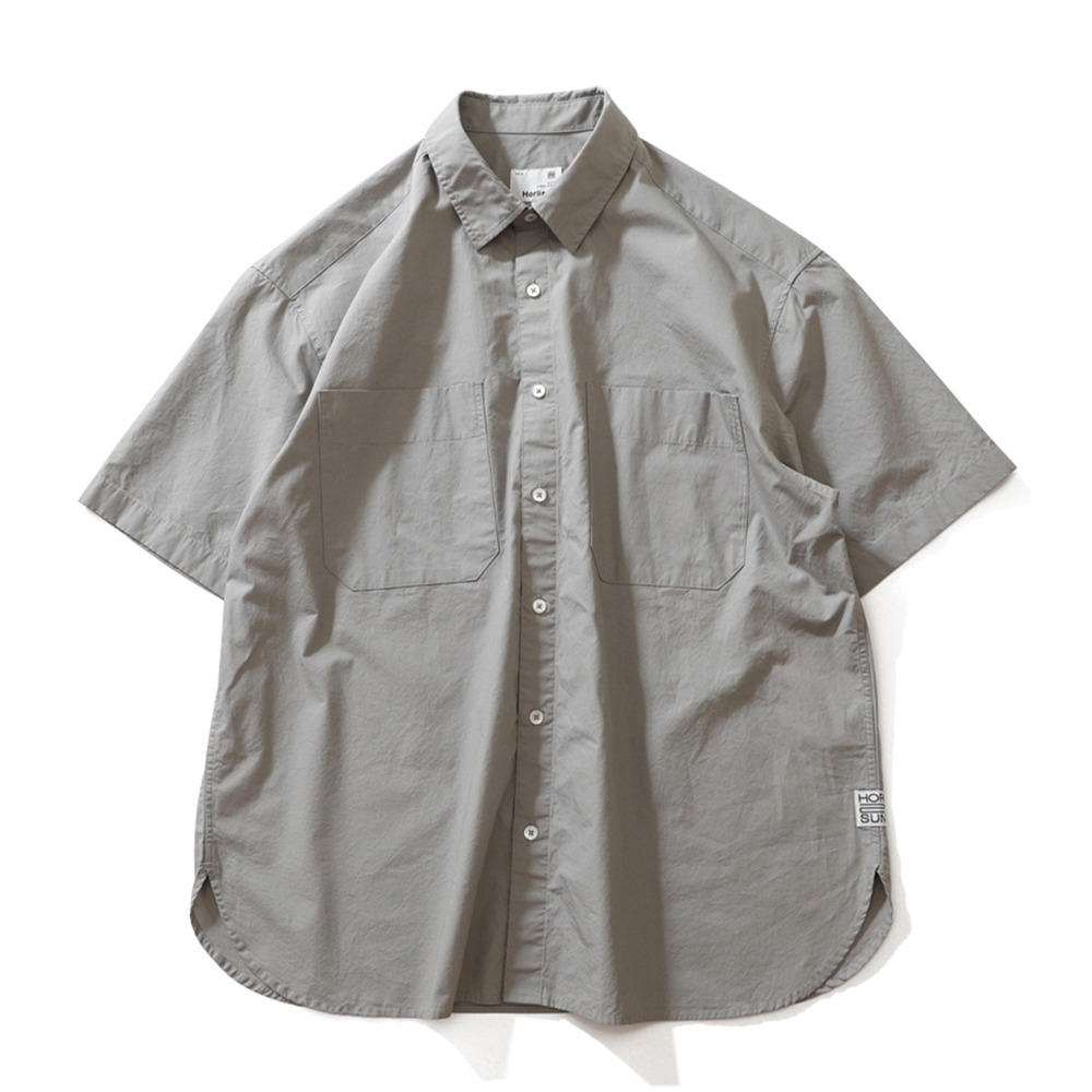 HORLISUNPoole Extra Typewriter Short Sleeve Shirts(Light Grey)