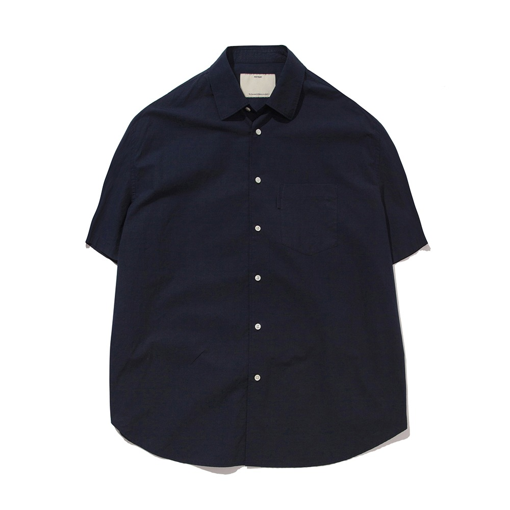 POTTERY*RESTOCK*Short Sleeve Comfort ShirtCotton / Linen Typewriter Cloth Resilient Hard Finish(Navy)