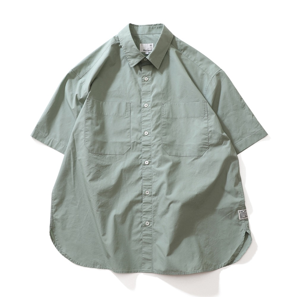 HORLISUNPoole Extra Typewriter Short Sleeve Shirts(Sage Green)