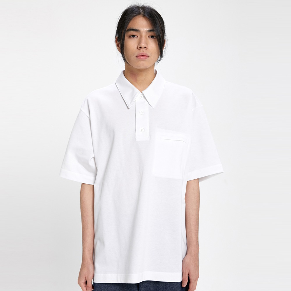 AFTER PRAYPannel Polo Shirt(White)
