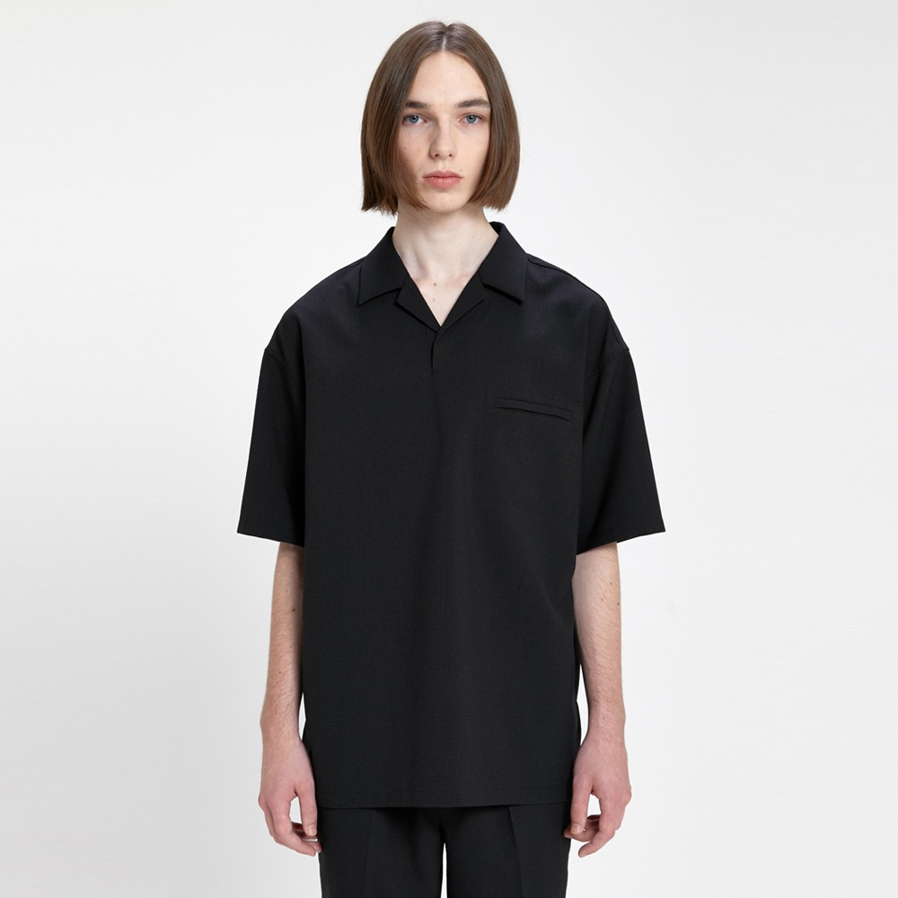 AFTER PRAYWind Seersucker Half Shirt(Black)